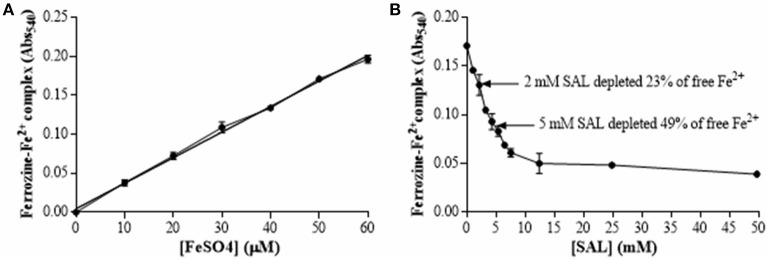 SAL chelating capacity of iron. (A) Standard curve of ferrous ion concentration in ferrozine complexes determined in TSBg medium using 1.25 mM ferrozine. (B) Ferrozine-Fe 2+ complex quantification in TSBg treated with different concentrations of SAL mixed with 50 μM FeSO 4 . The amount of ferrozine-Fe 2+ complex was determined at an absorbance of 540 nm (Abs 540 ). Basal iron concentration in TSBg was 39.3 μM.