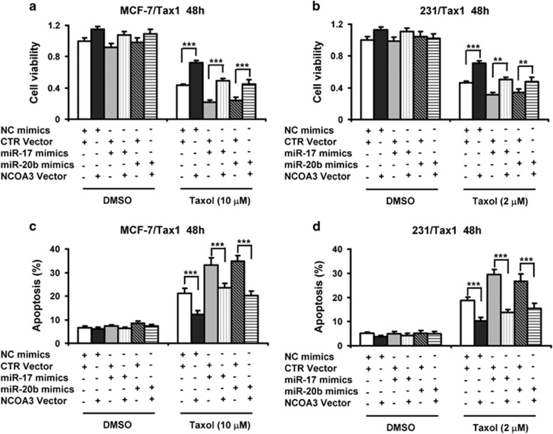 Overexpression of NCOA3 reverses reduction of cell viability and induction of apoptosis by miR-17 and miR-20b in taxol-treated breast cancer cells. ( a - d ) MCF-7/Tax1 ( a and c ) and 231/Tax1 ( b and d ) cells were co-transfected with NC and miR-17 or miR-20b mimics along with control (CTR) or NCOA3 vectors. After 8 h, cells were treated with indicated dose of taxol (Tax) for additional 48 h. ( a and b ) MTT assay was performed to examine cell viability. ( c and d ) Cell apoptosis was assessed by Annexin-V-FITC/PI staining assay by flow cytometry. Columns, means of three determinations; bars, S.D.; ** P