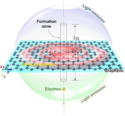 Schematic of 2D plasmons launching with a swift electron penetrating through a graphene monolayer. L f 1 and L f 2 are the lengths of the formation zone in the region above and below the graphene layer, respectively.