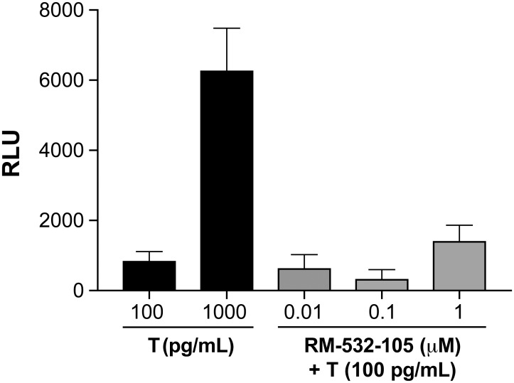 RM-532-105 does not modulate the transcriptional activity of AR in vitro . LAPC-4 cells were infected with the PSEBC-TSTA-fl adenovirus (MOI = 5) and treated with testosterone (T) (100 or 1,000 pg/mL). The reporter system is able to quantitatively assess AR activity in LAPC-4 cells, even with castrated (CTX) levels of T (100 pg/mL). The addition of RM-532-105 compound to the CTX level of T (100 pg/mL) does not significantly contribute (p