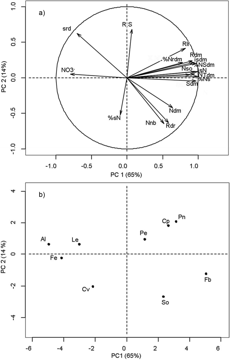(a) Factor loadings for the variables measured on nine legume species grown under high soil N availability for the first two axes of the principal component (PC) analysis. The percentage of the total variance explained by the first two principal components is shown in parentheses. (b) Projection of the different species on the first two axes of the principal component analysis. Variables: Shoot dry matter (Sdm), root dry matter (Rdm), total dry matter (Tdm), root:shoot ratio (R.S), initial seed dry matter (isdm), initial seed N (isN), N content in seeds (%sN), seed reserve depletion (srd), root lateral expansion rate (Rlr), root depth penetration rate (Rdr), nodule number (Nnb), nodule dry matter (Ndm), plant N (N), percentage of plant N derived from seeds (%Ns), Soil N uptake (Nso), N content in shoot dry matter (%NSdm), N content in root dry matter (%Nrdm), remaining N-NO 3 − in soil (NO 3 − ). Species: Alfalfa (Al), Fenugreek (Fe), Lentil (Le), Common vetch (Cv), Soybean (So), Pea (Pe), Chickpea (Cp), Peanut (Pn) and Faba bean (Fb).