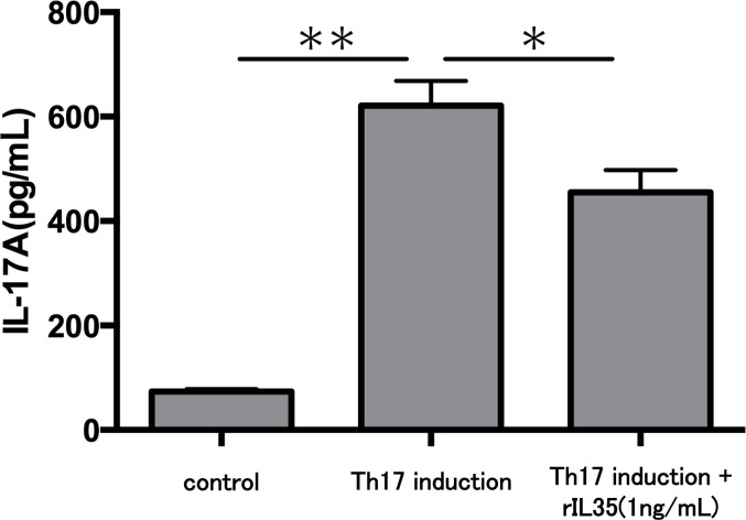 Effect of IL-35 on IL-17A production in Th17 cell. After Th17 cell differentiation by cytokine cocktail, cells were cultured with or without rIL-35 (1 ng/mL) for 24 h and IL-17A production in the culture supernatant was evaluated. Values are shown as the mean ± standard error of three independent experiments. ∗ P