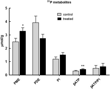 Phosphorus containing metabolites (μmol/g), measured by 31 P MRS, in tumour extracts at day 21 from MMTV-NEU-NT tumour-bearing control mice and mice treated with β-OHB (500 mg/kg), injected ip daily for 3 weeks. Phosphomonoesters (PME = phosphocholine (PC) + phosphoethanolamine (PE)), phosphodiesters (PDE = glycerophosphocholine + glycerophosphoethanolamine), inorganic phosphate (Pi), and β-ATP/Pi. Control: N = 8 to 13 (6 mice); Treated: N = 13–18 (12 mice), * p ≤ 0.05