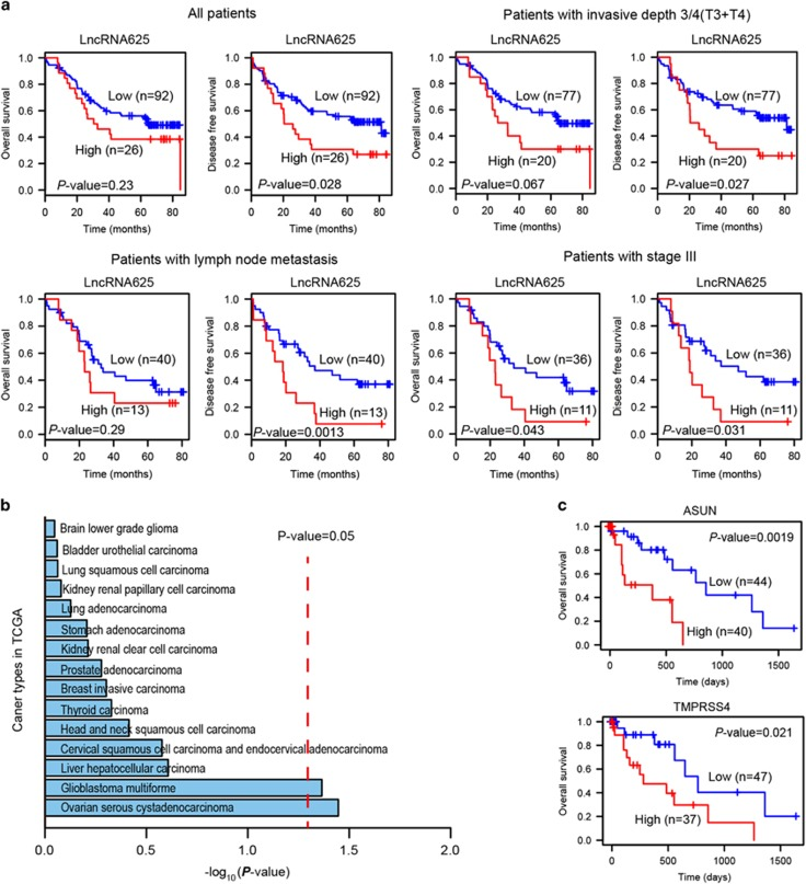 Kaplan–Meier curves of ESCC patients with either higher or lower expression of lncRNA625 and downstream target PCGs. ( a ) Kaplan–Meier survival curves of patients with ESCC classified into high- and low-risk groups based on their lncRNA625 signature. Expression level and survival information were obtained in 118 cases from 120 ESCC patient samples. For patients with invasive depth 3/4 (T3/T4), lymph node metastasis and stage III, a stratified analysis was done. ( b ) Kaplan–Meier survival based on the lncRNA625 signature for the cancer lncRNA profiles in TCGA. ( c ) Kaplan–Meier survival curves of ESCC patients classified into high- and low-risk groups based on two lncRNA625 downstream target PCG signatures. Expression level and patient information were obtained from TCGA. Red and blue indicates higher and lower expression, respectively.