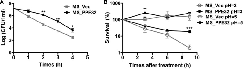 PPE32 enhanced the MS resistance to multiple extracellular stresses ( A ) Survival of MS_Vec and MS_PPE32 upon exposure to 0.05% SDS. Re-suspended 5ml recombinant MS_Vec and MS_PPE32 ( OD600 = 0.5) were exposed to 0.03% SDS for 1, 2, 3, and 4 h. And then the recombinant strains were plated onto 7H10 plates by serially ten-fold dilution ( B ) In vitro growth of recombinant MS_Vec and MS_PPE32 after treatment with different pH gradient for 0, 3, 6, and 9 h. The MS_Vec and MS_PPE32 strains were centrifuged, re-suspended to 5ml MB 7H9 at an OD600 of 0.5, 10-fold serial dilutions of MS_Vec and MS_PPE32 were spotted on MB 7H10 containing Kan. the bacterial numbers were counted after 3–4 days of cultivation at 37°C.