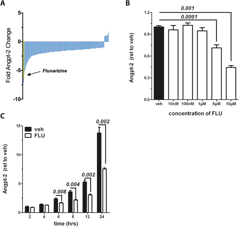 Flunarizine reduces baseline Angiopoietin-2 (Angpt-2) in vitro. ( A ) Human umbilical vein endothelial cells (HUVECs) grown in a 96-well format were treated with a Food and Drug Administration (FDA)-drug library for 24 hrs, and Angpt-2 protein in the supernatant was measured by enzyme-linked immunosorbent assay (ELISA). Results were analyzed as the fold-change relative to the median value and ordered from strongest inhibitors (left, blue bars) to strongest inducers (right, blue bars). The cutoff was set to tenfold reduction. ( B ) HUVECs were treated with different concentrations of Flunarizine for 24 hrs and Angpt-2 in the supernatant was quantified by ELISA (n = 6–12). ( C ) 10 μM Flunarizine (FLU) or vehicle was applied for indicated time points. Angpt-2 in the supernatant was measured by ELISA (n = 5–6). Columns are presented as mean ± SEM.