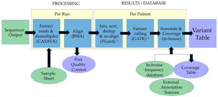 Data interpretation pipeline. Example of DNA-seq Bioinformatics Pipeline for <t>Illumina</t> ® . 1 This steps removes duplicate sequences using the Picard program; 2 GATK: Genome Analysis ToolKit.