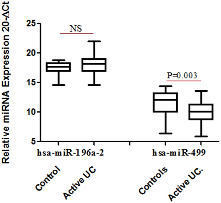 Relative expression of miRNA in UC patients (n = 28) and control subjects (n = 19). Total RNA was isolated from colon biopsy samples from healthy subjects and UC patients and reverse transcribed to cDNA using specific primers. Data derived from quantitative real-time PCR. Normalization of samples was performed with the small nuclear U6 snRNA. Box plots present median ± 25th and 75th percentiles (solid box) with the lowest and highest percentiles shown by whiskers outside the box. The Ct values were subtracted from 20, so that higher values represented higher mRNA expression levels. * represent p ≤ 0.05.