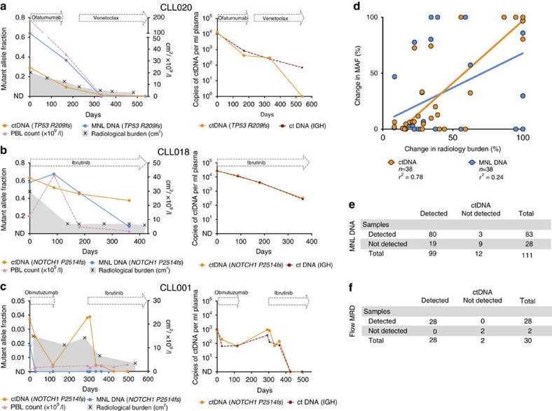 ctDNA dynamics reflect changes in disease burden across different tissue compartments. ( a ) Case CLL020: plasma ctDNA levels by TP53 p.R209fs mutation (left) and IGH (right) decreased over the course of ofatumumab and venetoclax treatment, which paralleled the decline in mutant DNA levels in the MNL, the decrease in PBL count and the reduction in lymphadenopathy as assessed by imaging. ( b ) Case CLL018: the initial peripheral lymphocytosis observed post ibrutinib treatment coincided with a increase in the abundance of the NOTCH1 p.P2415fs mutation in the MNL. This contrasted with plasma ctDNA levels of both the NOTCH1 p.P2415fs mutation (left) and IGH (right), which instead reflected the reduction in radiological disease burden. ( c ) Case CLL001: following obinutuzumab therapy, rapid clearance of the circulating leukaemic cells was observed and the NOTCH1 p.P2415fs mutation became undetectable in the MNL. This coincided with a parallel decrease in plasma ctDNA as assessed by NOTCH1 p.P2415fs mutation (left) and IGH (right) levels, although ctDNA did not become undetectable. The patient then had compartmentalized disease progression with increasing lymphadenopathy that was matched by a plasma ctDNA rise. Subsequent ibrutinib treatment resulted in a reduction in lymphadenopathy and plasma ctDNA. These dynamic changes were not reflected in the PBL count or by the NOTCH1 p.P2415fs mutation in MNL DNA. ( d ) Correlation between the change in ctDNA/MNL MAF versus change in radiological disease burden (cm 2 ) from the maximal value analysed for each individual patient across any time point. Of 38 matched serial time points from a total of 12 patients, the correlation with radiology was significantly better with ctDNA ( r 2 =0.78, P