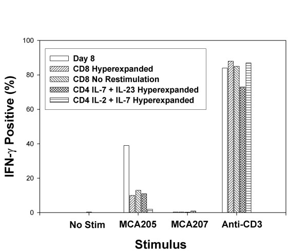 Hyperexpanded CD4 + and CD8 + T cells produce IFN-γ in response to tumor stimulation. CD62L low TDLN cells were culture activated with anti-CD3 and IL-2 plus IL-7 for 23 days then were restimulated with anti-CD3 every 7 days. T cells were removed from culture on day 8, on day 36 for CD8 + cultures, or day 43 for CD4 + cultures. T cells were incubated without additional stimulus to determine spontaneous production of IFN-γ or with single cell digest of MCA205 or MCA207 tumors or with immobilized anti-CD3 mAb and Brefeldin A was added at 5 hrs and cells were harvested after 14 hrs. Intracellular IFN-γ was determined by FACS and the percentage of T cells is indicated.