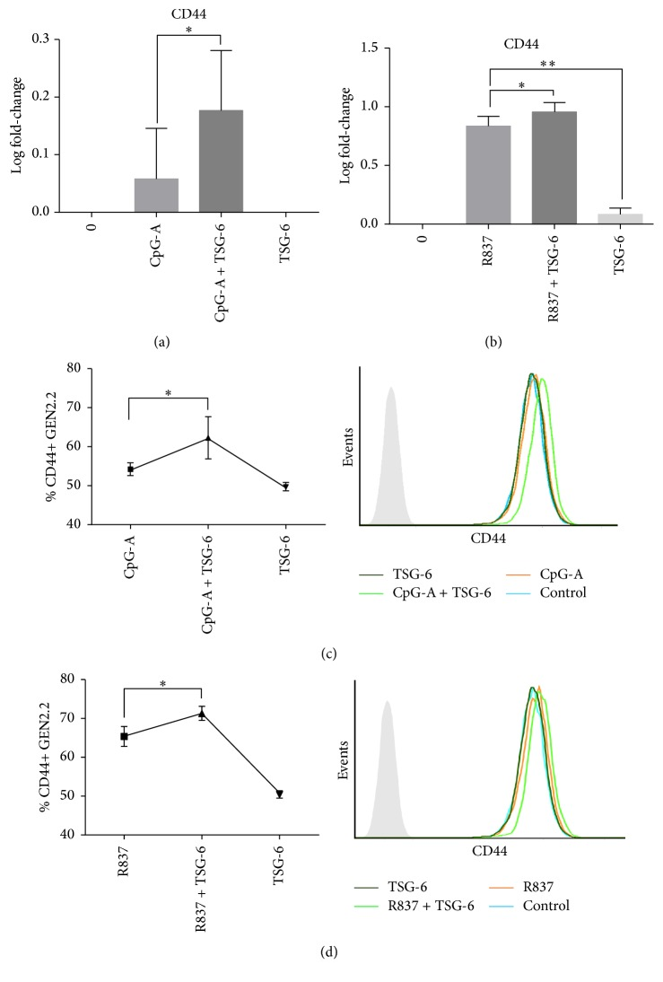 TSG-6 increased CD44 expression. Real-time PCR (a and b) and flow-cytometric analysis (c and d) of GEN2.2 cells treated with TSG-6 (1000 ng/mL), followed by stimulation with CpG-A (2 μ M) or R837 (10 ng/mL) for 3 hours. Representative FACS plots showing CD44+ pDCs percentages per independent experiment ( n > 3). Graphs showing data of at least 3 experiments performed in duplicate. Error bars indicate SEM. One-Way ANOVA, ∗ p