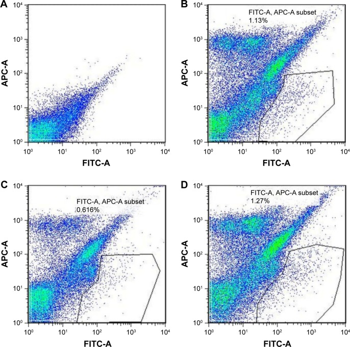 Selected bivariate scatter plots of lung cell suspension in experimental groups by flow cytometry. Notes: Anti-CD31 and anti-CD45 antibodies were labeled with fluorescent APC and anti-Sca-1 antibody with fluorescent FITC. The percentage of CD31 − CD45 − Sca-1 + population in single-cell suspension from the whole lung is indicated by the polygon drawn by the black line. ( A ) Blank control without fluorescent antibody; ( B ) PBS group; ( C ) CSE group; ( D ) CSE + adenovirus group. Autofluorescence of lung tissues was also confirmed. Abbreviations: FITC, fluorescein isothiocyanate; FITC-A, antibody with fluorescein isothiocyanate; PBS, phosphate-buffered saline; CSE, cigarette smoke extract.
