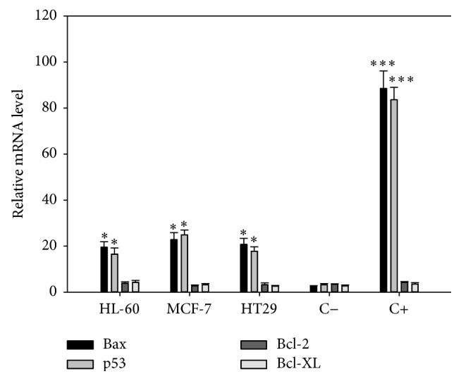 mRNA expression profile of Bax, p53, Bcl-2, and Bcl-XL in HL-60, MCF-7, and HT29 cell lines. A total of 1 × 10 6 cells were treated with 10 μ g/mL of alcoholic extracts for 24 h. Total <t>RNA</t> was isolated and treated with DNase; 1 μ g of RNA was reverse-transcribed into cDNA with a synthesis kit, using <t>oligo-dT</t> and a random hexamer. mRNA levels were compared by RT-qPCR. Results were normalized to the β -globin gene and expressed as the mean ± SD relative to the negative control (C−, untreated cells). As positive control (C+) cells were treated with 7 μ M of staurosporine. Experiments were done in triplicate. ∗ p