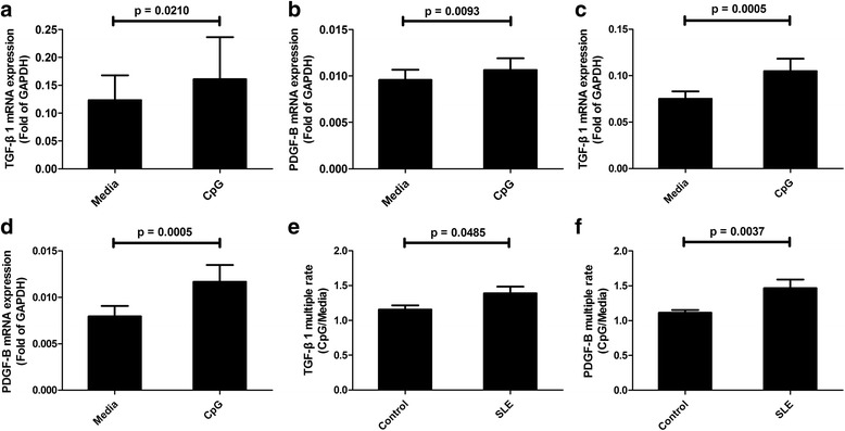 CpG induces upregulation of transforming growth factor-β1 ( TGF- β 1 ) and platelet-derived growth factor-B ( PDGF-B ) in vitro. Blood cells from healthy controls ( a , b ; N Control = 12) and systemic lupus erythematosus ( SLE ) patients ( c , d ; N SLE = 16) were stimulated with or without 500 nM CpG for 24 h, and then the mRNA expression of TGF-β1 and PDGF-B were detected by qPCR. Multiple rates of mRNA expression of TGF-β1 ( e ) and PDGF-B ( f ) in healthy controls ( N Control = 12) and SLE patients ( N SLE = 16) were calculated as CpG/Media. The results were presented as mean and SEM. GAPDH glyceraldehyde-3-phosphate dehydrogenase