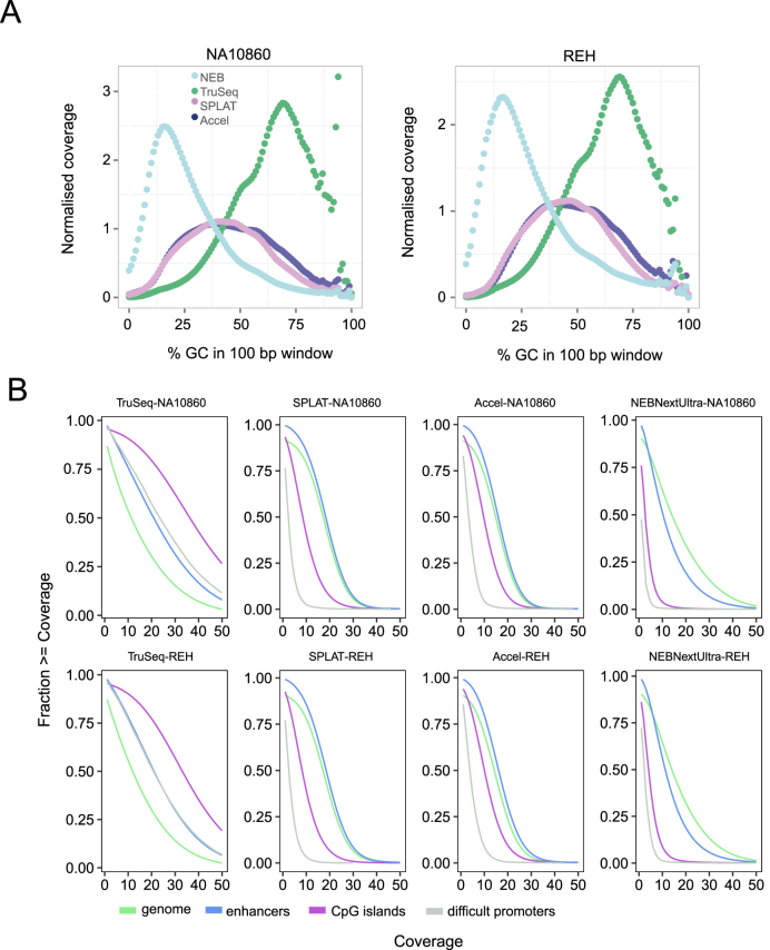 Sequence bias in whole genome bisulphite sequencing libraries. ( A ) GC bias observed for the different methods. The plots show the normalised coverage in 100 bp windows of increasing GC content in the human reference genome. NEBNextUltra libraries had higher read coverage in AT rich regions, whilst TruSeq DNA Methylation had increased read coverage of GC rich regions. The AccelNGS Methyl-Seq and SPLAT libraries displayed a lower GC bias, however regions with extreme GC content were not well represented. ( B ) Cumulative coverage of different genomic regions. Coverage plots for the whole genome is shown in in green, CpG islands in purple, FANTOM5 enhancer regions in blue and a set of 1000 promoter regions that are difficult to sequence due to high GC content in grey.