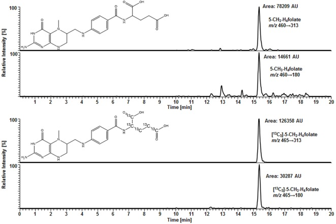 Liquid chromatography–tandem mass spectrometry chromatogram in the multiple-reaction monitoring mode for volumetric absorptive microsamplers [10.8 μL whole blood sample (329 nmol L −1 5-CH 3 -H 4 folate)] .