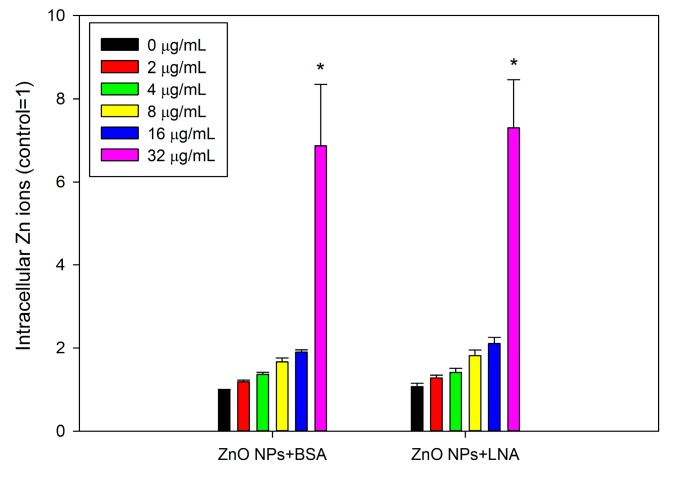 The accumulation of intracellular Zn ions. HepG2 cells were exposed to various concentrations of ZnO NPs (code: XFI06) with the presence of bovine serum albumin (BSA) or α-linolenic acid (LNA complexed to BSA; referred to as LNA) for 3 h, and the accumulation of intracellular Zn ions was measured by using a fluorescent probe. *, p