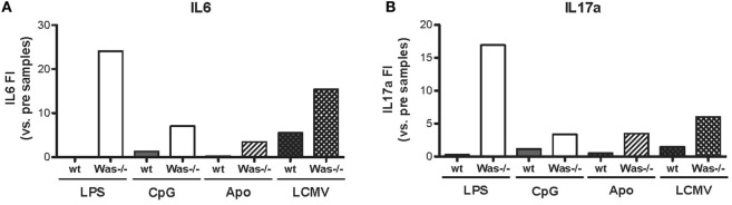 Cytokine production in Was −/− mice after in vivo chronic stimulations . The fold increase of IL6 (A) and IL17a (B) concentrations was calculated as the ratio between the mean value of cytokine production after the indicated in vivo treatment over the mean value before the treatment for each group of mice [LPS/CpG, n = 4 mice; Apo, n = 7–8 mice; lymphocytic choriomeningitis virus (LCMV), n = 5 mice].