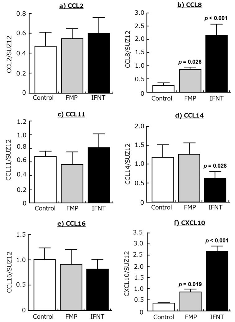 Effects of the supernatant derived from homogenized fetal trophoblast (FMP; 200 ng/mL) and interferon-τ (IFNT; 100 ng/mL) on the mRNA expression of ( a ) CCL2, ( b ) CCL8, ( c ) CCL11, ( d ) CCL14, ( e ) CCL16, and ( f ) CXCL10 in cultured bovine endometrial tissues. Homogenization buffer was added at the control group. Data are means ± SEM of five cows and are expressed as relative ratios of the mRNAs to SUZ12. p -Values show significant differences between treated group and control group.