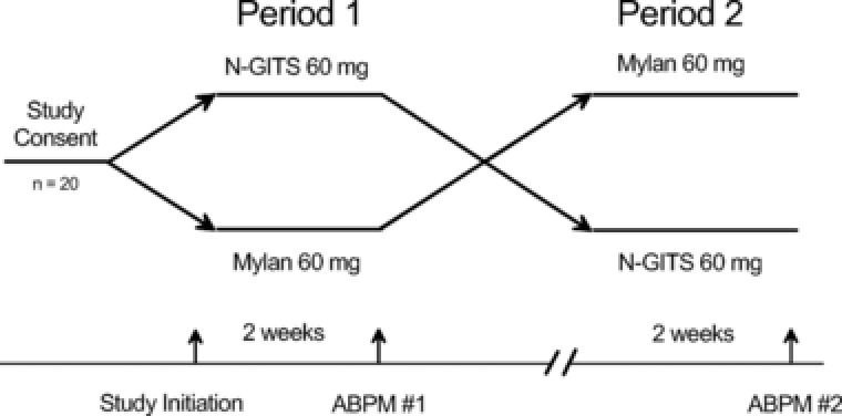 Flowchart of treatment assignment and timing of ambulatory blood pressure monitor (ABPM) assessments. Vertical arrows mark time of study initiation and ABPM measurements for either Mylan‐Nifedipine‐XL (Mylan) or Nifedipine‐GITS (N‐GITS).