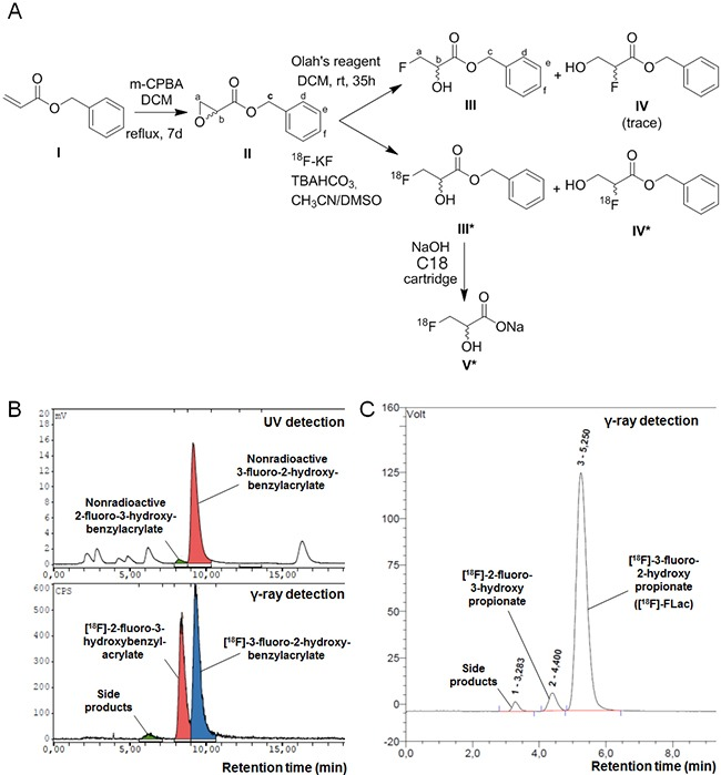 Synthesis of (±)-[ 18 F]-3-fluoro-2-hydroxypropionate ([ 18 F]-FLac) A . Scheme for the radiosynthesis of (±)-[ 18 F]-3-fluoro-2-hydroxypropionate. B . Co-elution spectra of (±)-[ 18 F]-benzyl 3-fluoro-2-hydroxypropionate and nonradioactive benzyl 3-fluoro-2-hydroxypropionate, and (±)-[ 18 F]-2-fluoro-3-hydroxybenzylacrylate and nonradioactive 2-fluoro-3-hydroxybenzylacrylate on a Supelco Discovery C18 HPLC column equipped with UV and NaI γ-ray detectors. C . Elution spectrum of (±)-[ 18 F]-3-fluoro-2-hydroxypropionate ([ 18 F]-FLac) on a IonPac AS15 Dionex HPLC column equipped with a NaI γ-ray detector.
