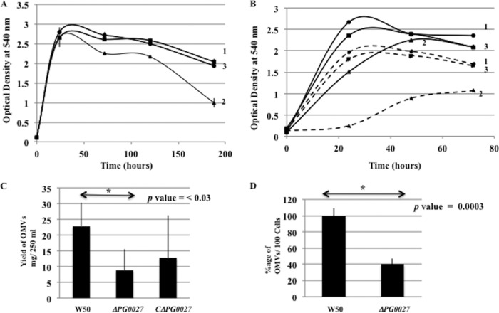 Properties of P. gingivalis W50, the Δ PG0027 mutant strain, and the C Δ PG0027 strain. (A) Growth in BHI broth. Samples were withdrawn at different time points, and the OD 540 was measured for 8 days. Curves: 1, W50; 2, Δ PG0027 mutant strain; 3, C Δ PG0027 strain. (B) Strains were grown in BHI broth as for panel A (solid line) or with the addition of 0.02% Tween 20 (dashed line). Curves: 1, W50; 2, Δ PG0027 mutant strain; 3, C Δ PG0027 strain. (C) Histogram showing OMV yields from P. gingivalis W50 and the Δ PG0027 mutant and C Δ PG0027 strains. Student's t test yielded a P value of