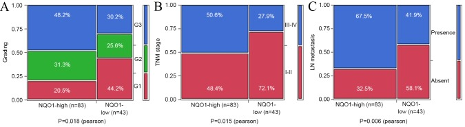 Association between NQO1 expression and clinicopathological significance of PDAC. The expression level of NQO1 protein was significantly associated with (A) grading (P