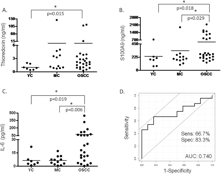Salivary protein levels determined with <t>ELISA.</t> The salivary concentration of (A) <t>thioredoxin,</t> (B) S100A9 protein and (C) IL-6 is indicated in case of young healthy controls (YC), age matched controls (MC) and OSCC group. In cases where significant difference was observed the p value is indicated. (D) ROC analysis of the combined effect of IL-6 and S100A9 protein.