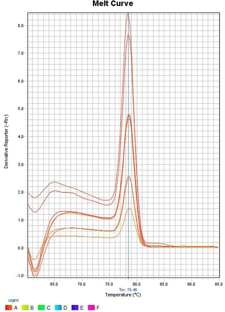 Melt curve of SYBR green <t>PCR</t> products . The Y -axis represents the derivative reporter (−Rn) while x -axis represents the temperature (°C). The figure shows a melting temperature ( 31 ) of human <t>ompW</t> PCR products as 78.46°C.
