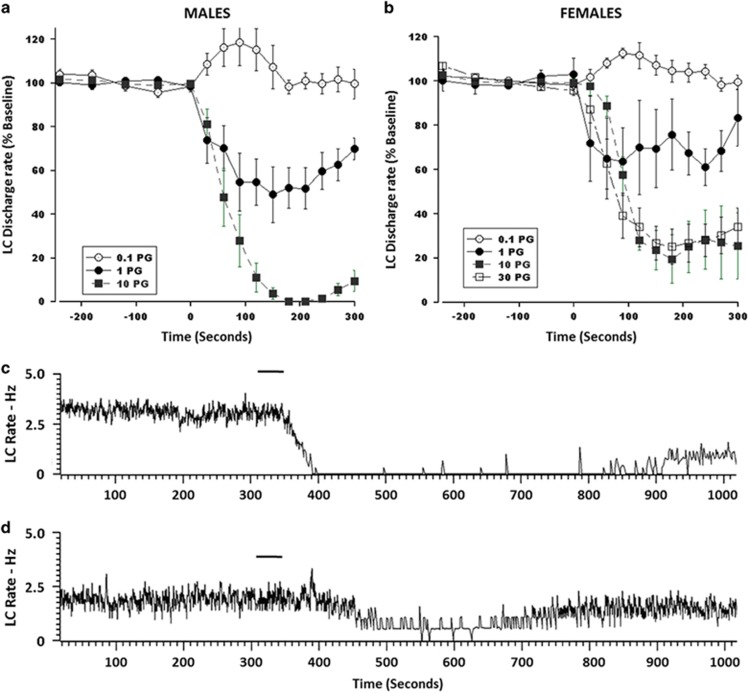 Dose-related inhibition of locus coeruleus (LC) neuronal discharge rate by DAMGO ( D -Ala2, N -MePhe4, Gly-ol]-enkephalin) in male and female rats. (a and b) Line graphs show the time course of DAMGO effects on LC discharge rate. The abscissae indicate time (s) before and after DAMGO, which was administered at time=0. The ordinates indicate LC discharge rate expressed as a percentage of the baseline rate before DAMGO. For 0.1 pg: males ( n =6 cells/3 rats), females ( n =3 cells/3 rats); for 1 pg: males ( n =7 cells/6 rats), females ( n =6 cells/4 rats); for 10 pg: males ( n =7 cells/5 rats), females ( n =7 cells/5 rats); for 30 pg females ( n =10 cells/6 rats). (c and d) Representative ratemeter records from a single locus coeruleus neuron of a (c) male and (d) female rat before and after DAMGO 10 pg microinfusion into the LC (indicated by the bars above the traces).