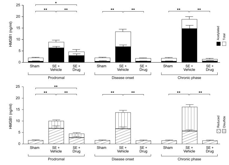 Blood <t>HMGB1</t> levels increase before epilepsy onset in electrical SE–exposed rats and predict therapeutic response to antiinflammatory drugs. Longitudinal analysis of total HMGB1 and levels of acetylated, reduced, and disulfide isoforms in blood plasma at representative time points of disease development in SE-exposed rats receiving treatment (drug) or corresponding vehicle (see key). Treatment included anakinra+BoxA+ifenprodil (SE+drug) (detailed protocol in Methods; Supplemental Figure 5A ). Data are shown as mean ± SEM ( n = 9 rats each group; dot plots are shown in Supplemental Figure 7 ). Rats are the same as reported in Figure 3 . * P