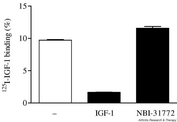 Effect of NBI-31772, a small-molecule inhibitor of the binding of insulin-like growth factor (IGF)-1 to IGF-binding proteins, on 125 I-labeled IGF-1 binding to human osteoarthritic chondrocytes. Confluent chondrocytes were incubated with 1 × 10 5 dpm 125 I-labeled IGF-1 with or without excess (150 nM) IGF-1 or 10 μM NBI-31772 for 1 hour at 4°C. Medium was harvested and cells were washed three times with Dulbecco's phosphate-buffered saline. Cells were lysed in 1 N NaOH. The percentage of 125 I-labeled IGF-1 bound to the cells was calculated as dpm in NaOH-treated cells over total dpm. Data are expressed as the means and SEM of four replicates from a representative experiment (out of two independent cultures).