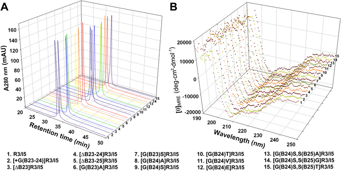 Characterisation of the mature R3/I5 mutants. ( A ) Purity analysis of the mature R3/I5 mutants by <t>C18</t> reverse-phase HPLC. ( B ) Structural analysis of the mature R3/I5 mutants by circular dichroism.