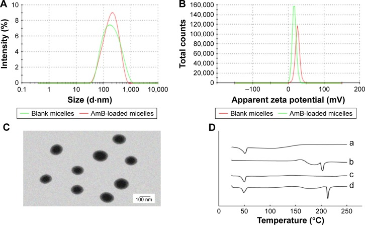 ( A ) The particle size distribution spectrum of blank micelles and AmB-loaded micelles; ( B ) zeta potential of blank micelles and AmB-loaded micelles; ( C ) morphology of AmB-loaded micelles determined by TEM (scale bar 100 nm); ( D ) DSC analysis of (a) MPP, (b) AmB, (c) AmB/MPP micelles, and (d) AmB and MPP physical mixtures. Abbreviations: AmB, amphotericin B; TEM, transmission electron microscopy; DSC, differential scanning calorimetry; MPP, monomethoxy poly(ethylene glycol)-poly(epsilon-caprolactone)-graft-polyethylenimine.