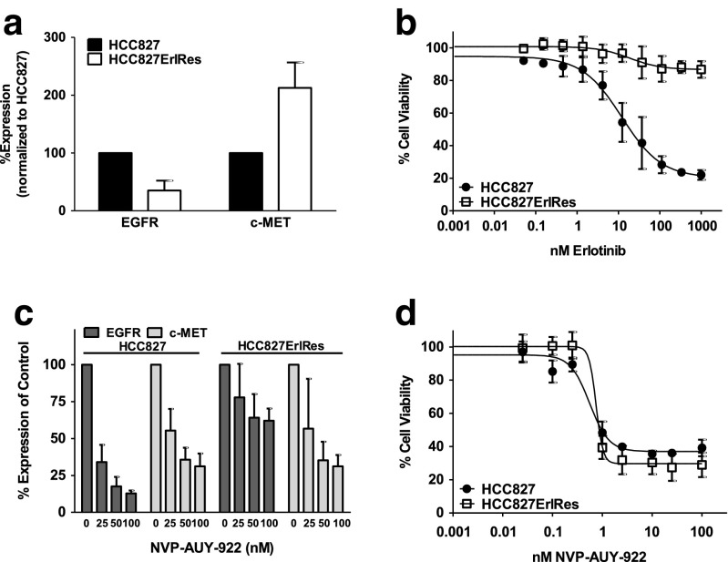 a In vitro flow cytometric analysis of EGFR and c-MET membrane expression in HCC827ErlRes cells normalized to expression in parental cell line HCC827. b In vitro MTT proliferation assay in HCC827 and HCC827ErlRes cells with exposure to increasing concentrations of erlotinib for 4 days. c In vitro flow cytometric analysis of EGFR and c-MET membrane expression in HCC827 and HCC827ErlRes cells after 24 h treatment with 25, 50 and 100 nM NVP-AUY-922 normalized to untreated controls. d In vitro MTT proliferation assay in HCC827 and HCC827ErlRes cells with exposure to increasing concentrations of NVP-AUY-922 for 4 days