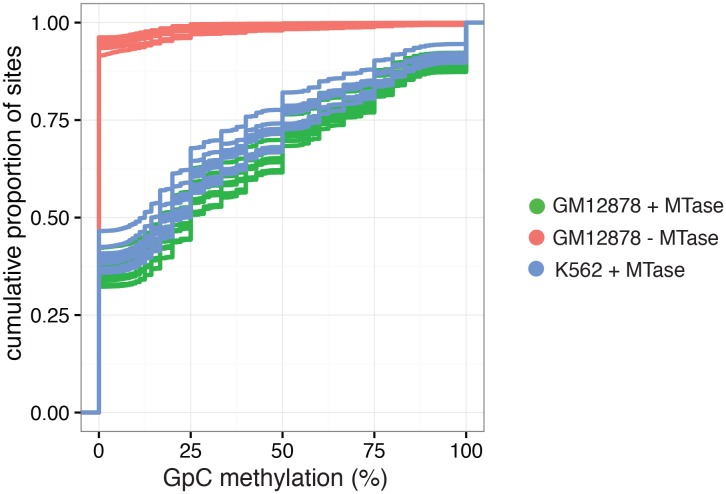 Cumulative distribution of average GpC methylation in DHSs in GM12878 and K562 cells. Plot of cumulative distribution of GpC methylation for individual GM12878 and K562 cells at DHSs with at least four covered GpC. GM12878 and K562 cells exposed to GpC MTase show similar distributions. About 50% of all cells show no or low methylation (