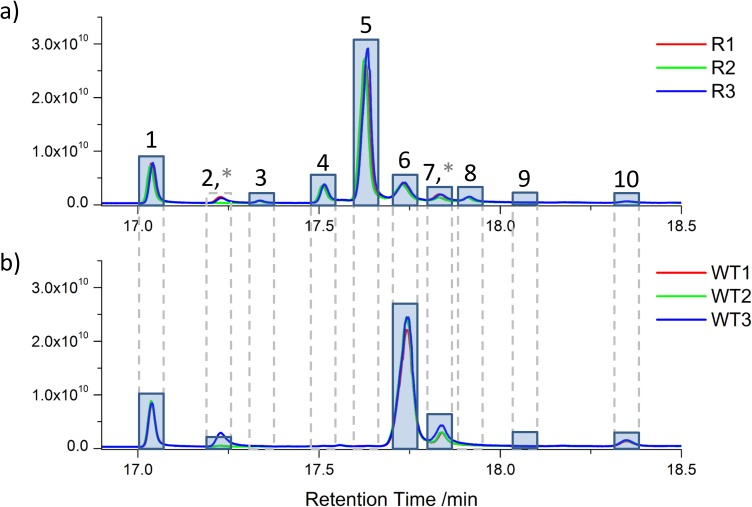 Total ion chromatograms for a) AmB resistant (R) and b) wild type (WT). Extracted sterols were analysed by high resolution accurate <t>mass</t> <t>Q-Exactive</t> <t>GC</t> Orbitrap. Nine unique sterols were identified in the retention time region from 17 to 18.4 min. The identification of these sterols is listed in Table 2 . Asterisks denote polysiloxane contaminant peaks that co-elute with sterol peaks. Three replicates of each extraction show high reproducibility with regard to peak height.