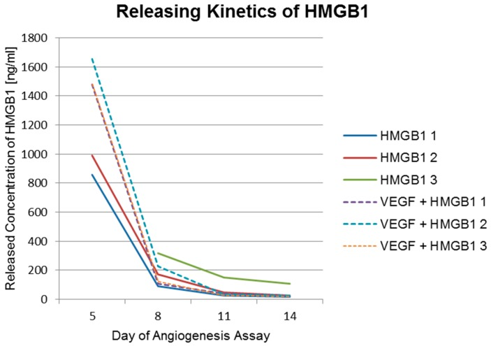 Released amounts of HMGB1. Releasing kinetics of HMGB1 from titanium implants coated with PCL and functionalized with HMGB1 and from titanium implants coated with PCL and functionalized with VEGF and HMGB1 (dashed lines). The concentration of HMGB1 released from titanium PCL scaffold HMGB1 3 (green line) was above the detection limit of 1668 ng/mL at day 5. Therefore, no result for this day can be shown.