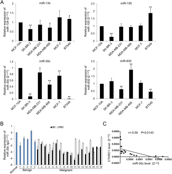 CTHRC1 and miR-30c expression are inversely correlated in human breast cancer cells and tissues. a The relative expression level of miR-134, miR-155, miR-30c and miR-630 in breast cancer cells respectively was detected by qRT-PCR. * P