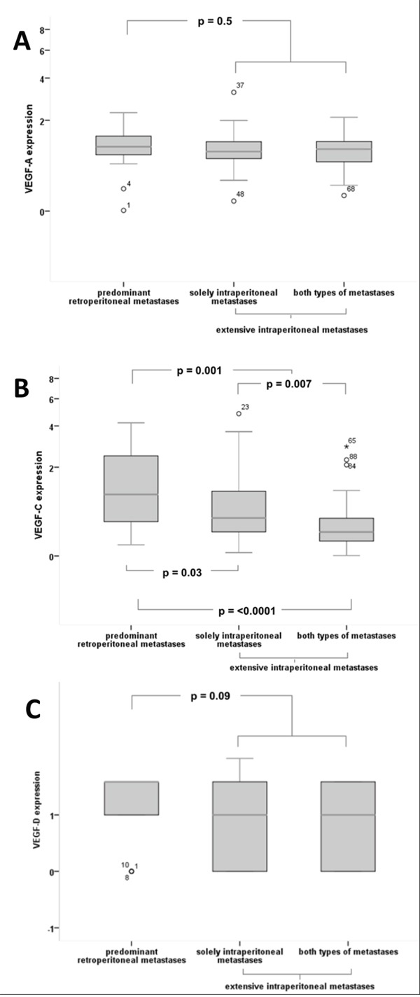 Quantitative expression of VEGF-A, VEGF-C, VEGF-D according to the mode of tumour progression (A) For VEGF-A no significant differences in expression levels between the different groups could be detected. (B) VEGF-C with significantly higher expression in patients with 'predominant retroperitoneal' metastases compared to 'extensive intraperitoneal' metastases (median 1.14 vs 0.42, p=0.001) and compared to patients with both types of metastases (median 1.14 vs 0.35, p=0.00002), as well as compared to patients with solely intraperitoneal metastases (median 1.14 vs 0.60, p=0.03). VEGF-C expression is significantly higher in the group of solely intraperitoneal metastases compared to both types of metastases (median 0.60 vs 0.35, p=0.007) (C) VEGF-D exhibits a trend of higher expression levels in patients with 'predominant retroperitoneal' metastases compared to the 'extensive intraperitoneal' group (mean 1.33 vs 0.96, p=0.09), although without statistical significance.