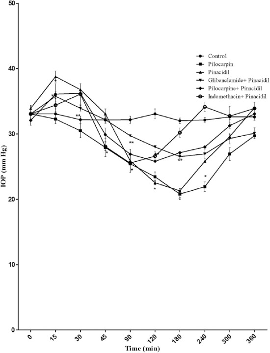 Effect of pinacidil (1%), [glibenclamide (1%) + pinacidil (1%)], [pilocarine (1%) + pinacidil (1%)], [indomethacine (1%) + pinacidil (1%)], and pilocarpine (1%) on IOP in rabbits with α-chymotrypsin-induced ocular hypertension. Each point and bar represents mean ± standard error of the mean of six observations. * Significantly different from control ( p