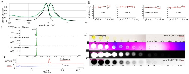 Spectral and radioactive properties of [ 18/19 F]- 2. (A) Excitation and emission spectra of 5-6 μM solutions of fluorescein (black) and [ 18/19 F]- 2 (green) in 1x PBS, pH 7.4 measured on a Cary Eclipse spectrophotometer, with 5 nm slit widths, and excitation at 490 nm. (B) In vitro cell viability tests performed with compound 2 (red line) and fluorescein (control) 24 hour on U87, Hela, MDA-MB-231, and A549 immortal cell lines using a CellTiter 96® AQueous One Solution Cell Proliferation Assay (MTS, G3582, Promega). Toxicity is not observed. (C) UV-Vis (280, 350, and 450 nm) UPLC-MS of 2 on a waters Acuity UPLC and a Phenomenex Luna Kinetex 1.7 µm EVO C18 50 x 2.1 mm column (00B-4726-AN), with a 1.5 min, a10-90% H 2 O:ACN (0.05% TFA) elution gradient indicating a pure synthesis of 2 . (D) Reverse phase HPLC of radiolabeled [ 18 F]- 2 on a Varian HPLC, using an Waters SunfireTM C18 3.5 μm 4.6 x 50 mm column (186002551), a10-90% H 2 O:ACN (0.05% TFA) elution gradient and a flow rate of 2 mL/min. (E) 10 µL 3x dilution series of [ 18/19 F]- 2 beginning at 70 µM (1.7 pmols) and 170 µCi of [ 18/19 F]- 2 (first spot). A 10 µl volume was plated onto glass-backed TLC plate model. Imaging was performed using (i) bright-field; (ii) a UV-sight hand-held 4.5 volt LED black-light (fluorescence); (iii) a Bruker Xtreme optical imaging device (fluorescence: 1 sec acquisition using excitation and emission filters set at λex= 450 nm and λem= 535 nm); (iv) and a phosphorimager.