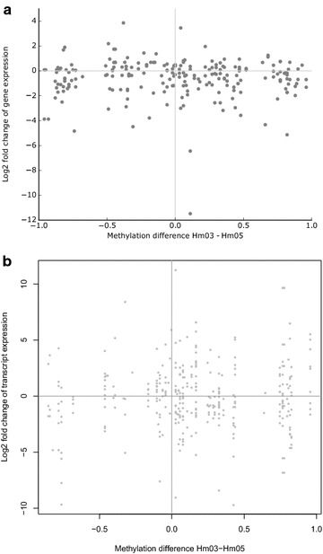 Correlation between DNA methylation and gene expression. a Scatter plot of the differences in gene expression levels of the putative target genes identified by GREAT and the differences in DMR methylation in donors Hm03 and Hm05. b Scatter plot of the differences in transcript isoform levels of genes harboring a DMR and the differences in methylation of the 77 intragenic DMRs