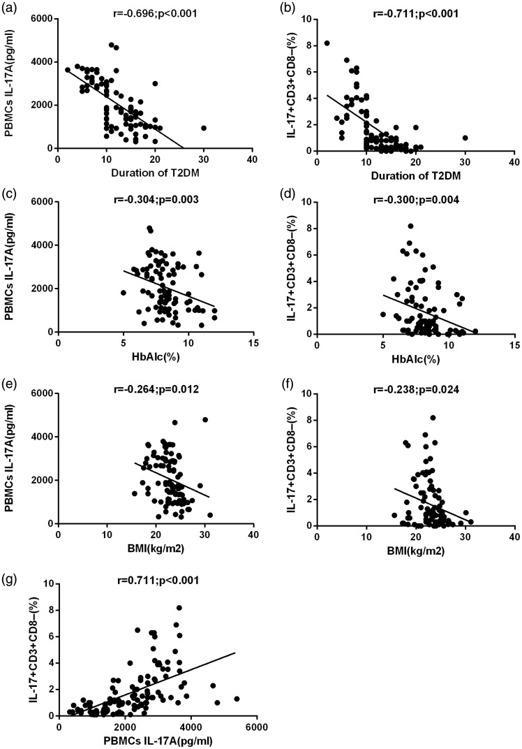 (a) Correlation between interleukin (IL)-17A concentrations in activated peripheral blood mononuclear cell (PBMCs) culture supernatants and type 2 diabetes mellitus (T2DM) duration. (b) Correlation between IL-17 + CD3 + CD8 − T cells in PBMCs and T2DM duration. (c) Correlation between IL-17A concentrations in activated PBMC culture supernatants and glycated haemoglobin (HbA1c) levels in patients with T2DM. (d) Correlation between IL-17 + CD3 + CD8 − T cells in PBMCs and HbA1c levels in patients with T2DM. (e) Correlation between IL-17A concentrations in activated PBMC culture supernatants and body mass index (BMI) in patients with T2DM. (f) Correlation between IL-17 + CD3 + CD8 − T cells in PBMCs and BMI in patients with T2DM. (g) Correlation between IL-17A concentrations in activated PBMC culture supernatants and IL-17 + CD3 + CD8 − T cells in PBMCs. Spearman correlation test was used ( P