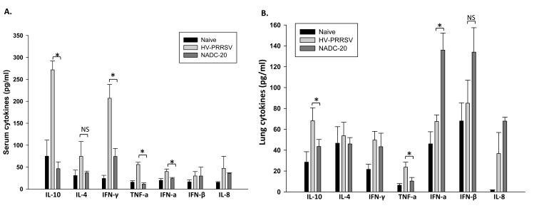 Serum immune cytokine profiles after <t>PRRSV</t> infection. Cytokine expression profiles in the sera (A) of challenge pigs 6 days post infection (DPI) and supernatants of lung homogenates (B) were tested by quantitative <t>ELISA.</t> Data were shown as mean ± SEM for 5 pigs per group. One asterisk denotes a statistically significant difference (P