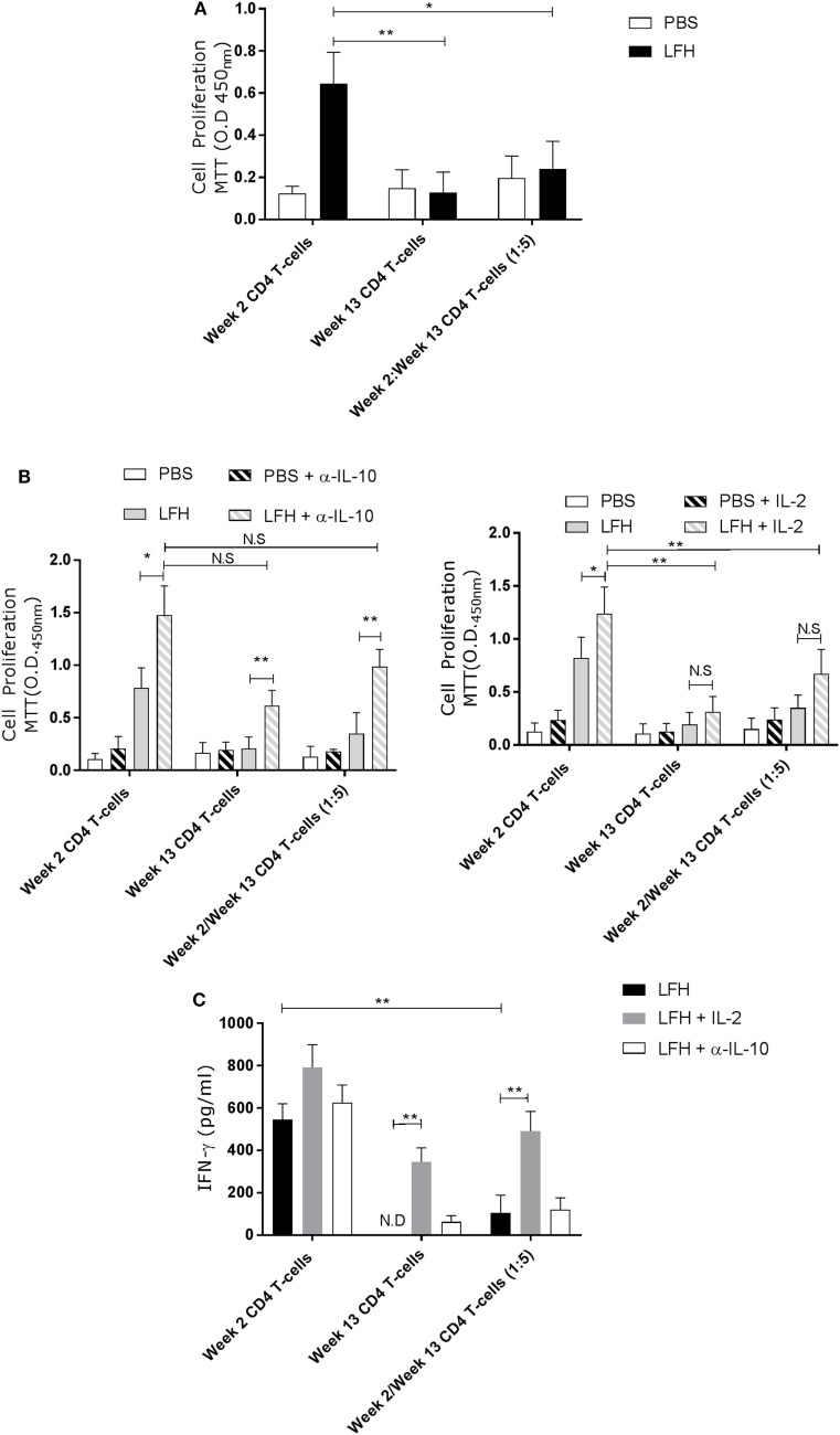 Anergic CD4 T-cells are suppressive toward autologous responsive counterparts. CD4 T-cells taken from animals' 2 weeks of postinfection were cocultured with autologous CD4 T-cells isolated from the hepatic lymph node at postmortem. (A) Proliferation in response to LFH is still detectable in week 2 CD4 T-cells, as per previous findings; however, when anergic week 13 CD4 cells are added at a ratio of five cells per 1 week 2 responder cells, we see a strong suppression of proliferation. (B) A similar coculture was established and the effects of α-IL-10 (left graph) and exogenous IL-2 (right graph) was determined. In the presence of α-IL-10, there was significant reversal of the negative effects of anergic CD4 cells on their responsive counterparts; however, there was no positive effect of exogenous IL-2. (C) IFN-γ levels in LFH-stimulated cells untreated (isotype control) or treated with IL-2 and α-IL-10 were determined in the coculture system. In the presence of week 13 anergic CD4 cells, the IFN-γ response, from responsive week 2 cells, was suppressed while IL-2, but not α-IL-10 treatment, could abrogate the effect of week 13 CD4 T-cells on the responsive population. Bars represent the mean of seven animals' ±SEM. Data in (A) and (B,C) were tested by Kruskal–Wallis with Dunn's multiple comparisons and Friedman test with a post hoc comparison using a Wilcoxon ranked-sign test, respectively. ND, not detected; NS, not significant, * P