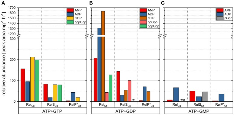 In vitro activity characterization of the putative (p)ppGpp synthetases RelP * Cg and RelS Cg , as well as the enzyme Rel Cg . Graphical representation of the HPLC analysis of 50 μL assay reactions containing 500 ng of the corresponding enzyme and ATP+GTP (A) , ATP+GDP (B) and ATP+GMP (C) as substrate combinations with a concentration of 4 mM each. HPLC separation was performed using a <t>SeQuant</t> <t>ZIC-pHILIC</t> column and isocratic elution with 38% of 10 mM ammonium bicarbonate buffer (pH 9.3) and 62% acetonitrile. The reaction products were identified by their specific masses and retention times. Their relative abundance is given as the peak area of the UV signal (252 nm) per mg of the respective enzyme per hour. The results shown were corrected by the values determined for enzyme-free controls. For some measurements pppGpp ( * ) or pGpp ( ** ) were detected by their characteristic MS signals, but the UV detection limits were not reached.