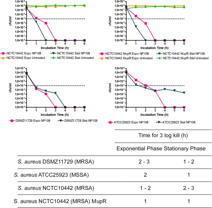 Effect of NP108 on the survival of S. aureus <t>DSMZ11729</t> (MRSA), S. aureus ATCC 25923 (MSSA), S. aureus NCTC10442 (MRSA), and S. aureus NCTC10442 Mup r (low-level mupirocin-resistant MRSA) over 6 h of incubation. NP108 was added at 4× MIC to exponential-phase or stationary-phase cultures of the S. aureus isolates diluted to the 0.5 McFarland standard (∼10 8 CFU/ml) at 37°C in CA-MH broth (exponential phase) or conditioned CA-MH broth (stationary phase). Samples were taken every 60 min and viable counts established by plating on CA-MH agar and incubating for 24 h at 37°C. Untreated cultures were used as growth controls. Values in the table represent the time taken to kill the isolates of three replicates from 3 independent experiments. The graphs show representative data from a single experiment with each isolate. Data points represent the mean numbers of CFU/ml within the experiment. Horizontal dotted lines represent 3-log reduction in CFU/ml (complete kill). Conditioned CA-MH broth was medium derived from cultures of the relevant S. aureus isolate grown to stationary phase (48 to 54 h), and cells were removed by centrifugation (5 min at 17,000 × g ) and filter sterilized (0.22-μm PES filter).