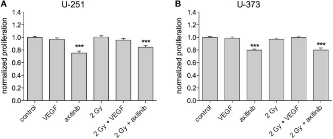 Influence of vascular endothelial growth factor (VEGF), axitinib, or irradiation with 2 Gy photons on the proliferation of glioblastoma multiforme cell lines U-251 and U-373. (A,B) Axitinib impairs the proliferation of irradiated and non-irradiated U-251 and U-373 cells. VEGF, irradiation, or the combination of both has no significant effect on cell proliferation. The proliferation of the cells was analyzed by a modified MTS-test. VEGF and axitinib were added in concentrations of 0.1 and 10 µg/ml, respectively. Data are shown as mean ± SEM. Data were tested for significance using one-way ANOVA with Bonferroni multiple comparison post-test. Significant differences are indicated by *** p