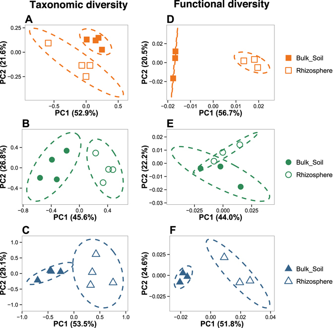 Shift in taxonomic and functional bacterial diversity between bulk soil and rhizosphere compartments in each soil type. Multivariate analyses were performed at the phylum level for the 16S rRNA gene libraries ( A , B and C ) and at the functional subcategory level for the GeoChip dataset ( D , E and F ). For both approaches, multivariate analyses were conducted separately on each soil types to determine a potential rhizosphere effect. The origins of samples are indicated as follows: filled orange squares, bulk soil samples from Calcaric; open orange squares, rhizosphere samples from Calcaric; filled green circles, bulk soil samples from Eutric, open green circles, rhizosphere samples from Eutric; filled blue triangles, bulk soil samples from Hyperdystric; open blue triangles, rhizosphere samples from Hyperdystric. Ellipses correspond to 95% confidence intervals about the mean.